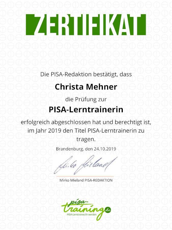Zertifikat PISA Lerntrainerin Christa Mehner