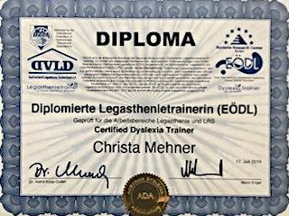 Diplom von Christa Mehner, Dipl. Legasthenietrainerin in Landshut
